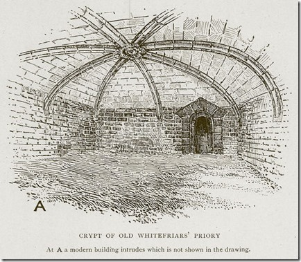 Crypt of Old Whitefriars' Priory. Illustration for Medieval London by Sir Walter Besant (A & C Black, 1906).